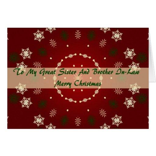 Tarjeta de Navidad para la hermana y el cuñado