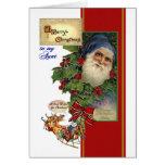 Tarjeta de Navidad para la tía - vintage Santa, tr