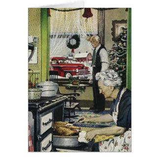 Tarjeta de Navidad pasada de moda de la cocina del