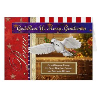 Tarjeta de Navidad patriótica de la paloma de la