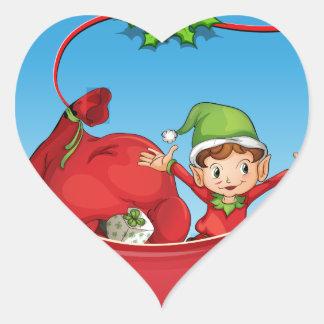 Tarjeta de Navidad Pegatina En Forma De Corazón