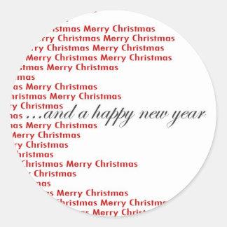 Tarjeta de navidad pegatina redonda