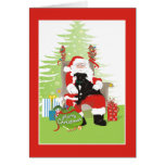 Tarjeta de Navidad - perro negro del pitbull en el