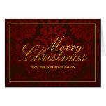 Tarjeta de Navidad personalizada damasco rojo Tarjeta De Felicitación