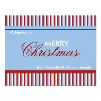 """Tarjeta de Navidad plana azul de las rayas del Invitación 4.25"""" X 5.5"""""""