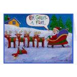 Tarjeta de Navidad plana del reno