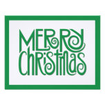 Tarjeta de Navidad plana del verde de las Felices