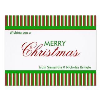 """Tarjeta de Navidad plana del verde de las rayas Invitación 4.25"""" X 5.5"""""""
