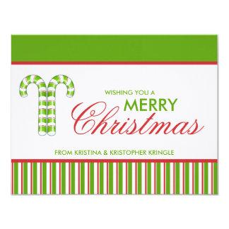 Tarjeta de Navidad plana del verde de los bastones Invitacion Personal