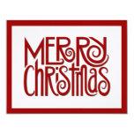 Tarjeta de Navidad plana roja de las Felices Invitación 10,8 X 13,9 Cm