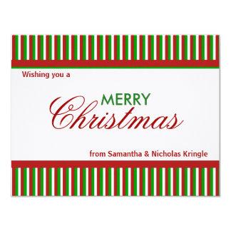 """Tarjeta de Navidad plana roja de las rayas del Invitación 4.25"""" X 5.5"""""""