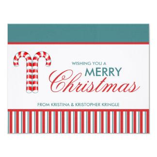 """Tarjeta de Navidad plana roja de los bastones de Invitación 4.25"""" X 5.5"""""""