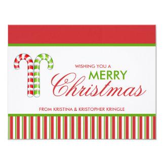 """Tarjeta de Navidad plana verde roja de los Invitación 4.25"""" X 5.5"""""""