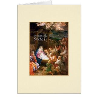 Tarjeta de Navidad polaca de la natividad del