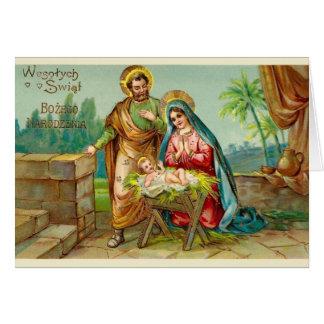 Tarjeta de Navidad polaca religiosa del vintage