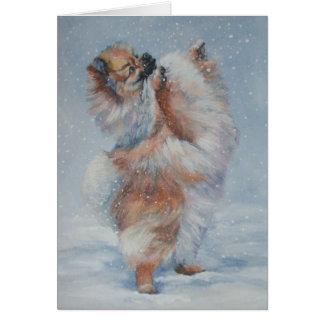 tarjeta de Navidad pomeranian