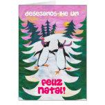 Tarjeta de Navidad portuguesa - pingüinos patinado