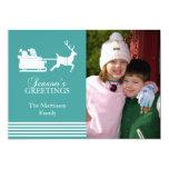Tarjeta de Navidad preciosa de Santa (aguamarina) Invitación 12,7 X 17,8 Cm