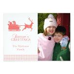 Tarjeta de Navidad preciosa de Santa (coral) Invitación 12,7 X 17,8 Cm