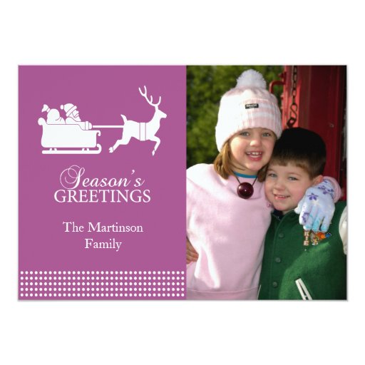 Tarjeta de Navidad preciosa de Santa (frambuesa) Invitación 12,7 X 17,8 Cm