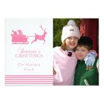 Tarjeta de Navidad preciosa de Santa (rosa) Invitación 12,7 X 17,8 Cm