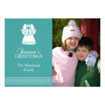 Tarjeta de Navidad preciosa del ángel (aguamarina) Comunicados Personalizados