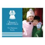 Tarjeta de Navidad preciosa del ángel (azul) Invitación