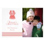 Tarjeta de Navidad preciosa del ángel (coral) Comunicado Personalizado
