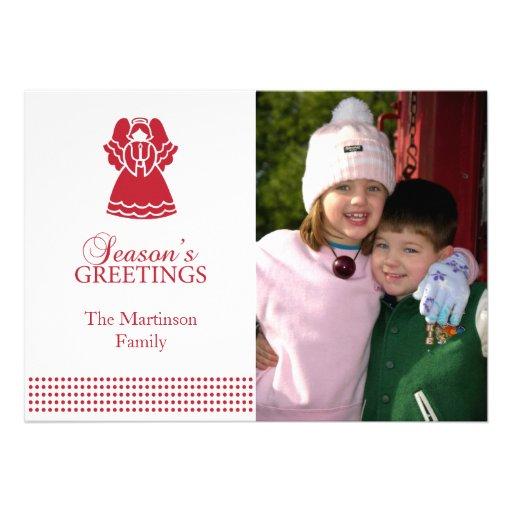 Tarjeta de Navidad preciosa del ángel (roja) Comunicado Personalizado