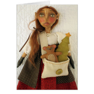 Tarjeta de Navidad primitiva de la muñeca del arte