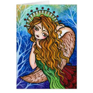 """Tarjeta de Navidad primitiva del ángel de la """"tole"""