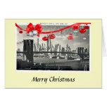 Tarjeta de Navidad - puente de Brooklyn, New York