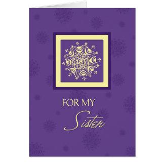Tarjeta de Navidad púrpura de la hermana de los co