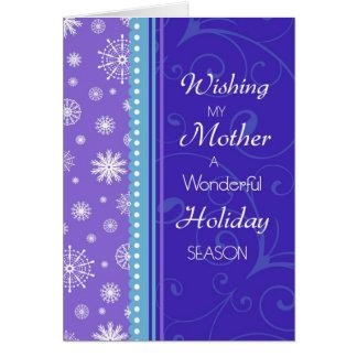 Tarjeta de Navidad púrpura de la madre de los copo