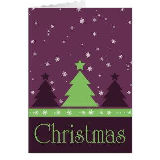 Tarjeta de Navidad púrpura de los copos de nieve