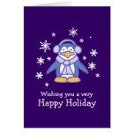 Tarjeta de Navidad púrpura del pingüino