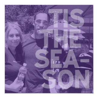 """Tarjeta de Navidad púrpura escarpada de la foto de Invitación 5.25"""" X 5.25"""""""