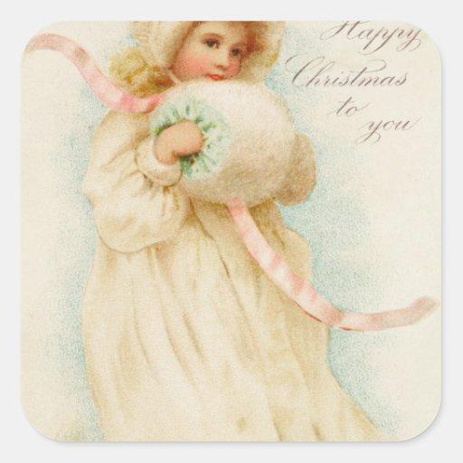 Tarjeta de Navidad que representa a un chica con Calcomanía Cuadrada