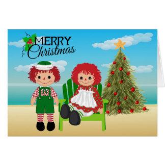 Tarjeta de Navidad Raggedy de Ana y de Andy