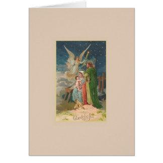 Tarjeta de Navidad religiosa de Glædelig julio del