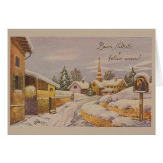 Tarjeta de Navidad religiosa italiana del vintage