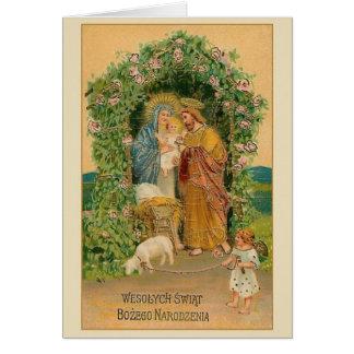 Tarjeta de Navidad religiosa polaca del vintage