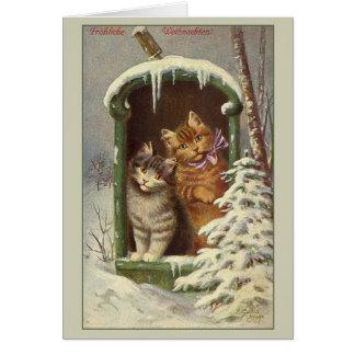 Tarjeta de Navidad retra de Fröhliche Weihnachten