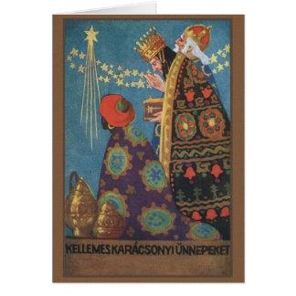 Tarjeta de Navidad retra de Karácsonyi del húngaro