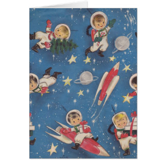 Tarjeta de Navidad retra de la era espacial