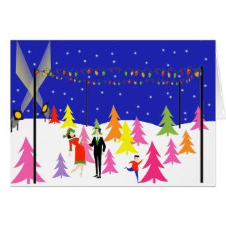 Tarjeta de Navidad retra de la granja de árbol de