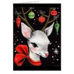 Tarjeta de Navidad retra de los ciervos