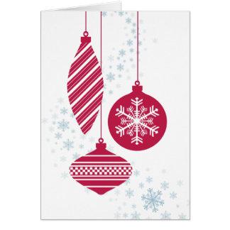 Tarjeta de Navidad retra de los ornamentos