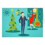 Tarjeta de Navidad retra de los pares del dibujo