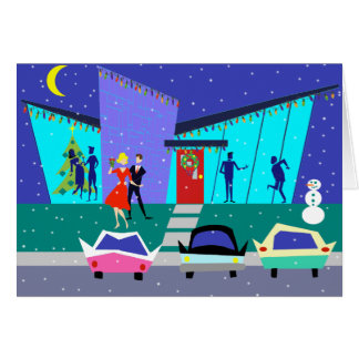Tarjeta de Navidad retra del dibujo animado del